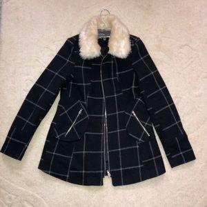 Navy Blue Flannel Print Fur Collar Coat